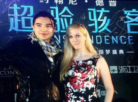 "Katara and Ludi Lin on the red carpet at the premiere of Johnny Depp's film ""Transcendence"" in Beijing"